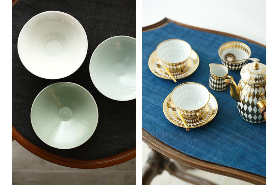 左は滋賀の若手作家・浅井庸佑の深鉢。土と釉薬を自ら取りに行き、色と質感の美しい器を作り出す。右は1850年代のティーセット。パリにかつて存在したDELVAUX社製。