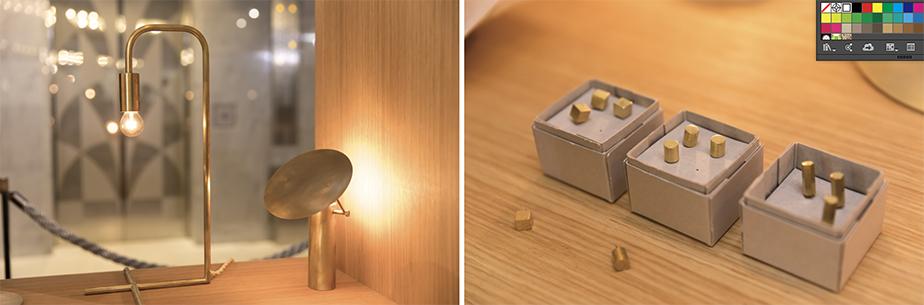 [左]:吊り型や置き型など多様なインテリアにあわせた照明をラインナップ。[右]:真鍮製のピンなど、小物も並ぶ。)