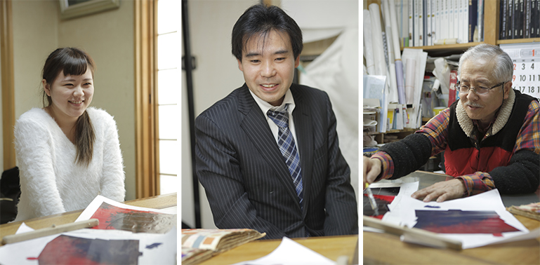 左から受賞者の渡部可菜子さん、藤澤刺繍の藤澤栄治さん、下絵職人の吉岡和一郎さん。