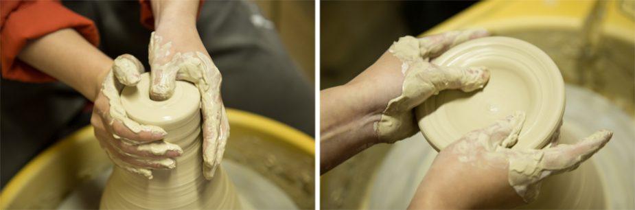 まず中心に親指を第一関節まで突き刺し、次に両方の親指をいれて徐々に広げていきます。この時点で一個のお茶碗に使う土の量が決まります。