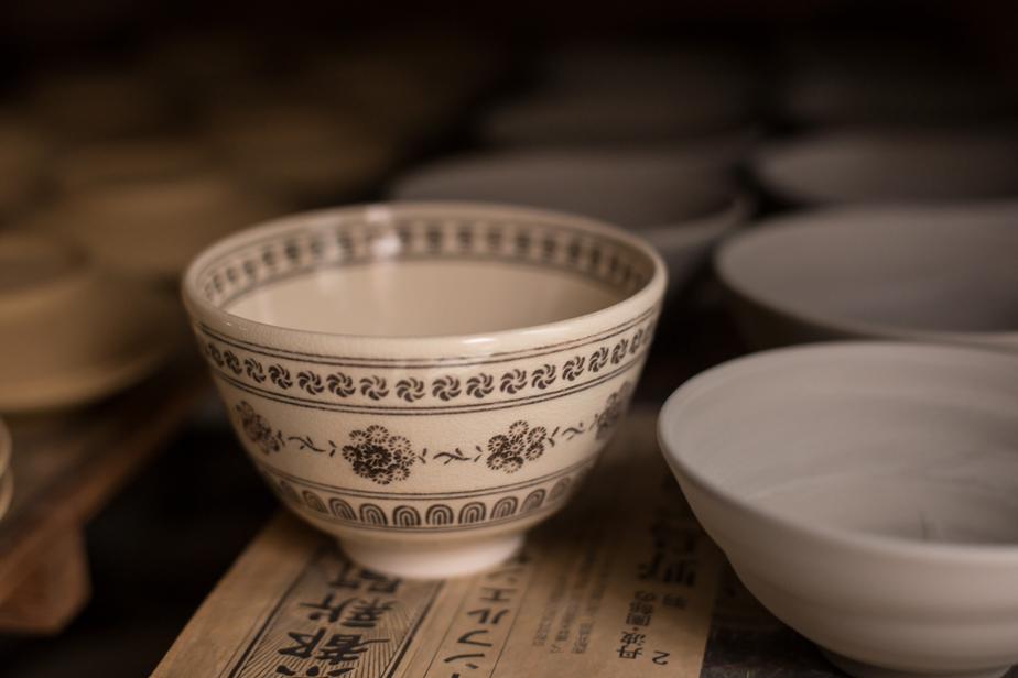 「黒印花茶碗」