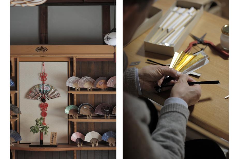 店舗には、季節や用途によって違う様々な扇子が並び、奥の工房では扇子の修理作業も行う。