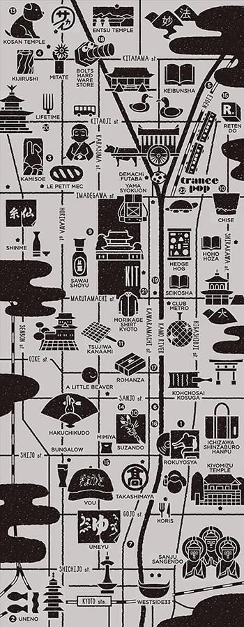 手ぬぐい¥2,000(予価、現在制作中の参考画像)。「三三屋」で商品を扱っている店と三三屋がおすすめするスポットをマップとしてデザイン。