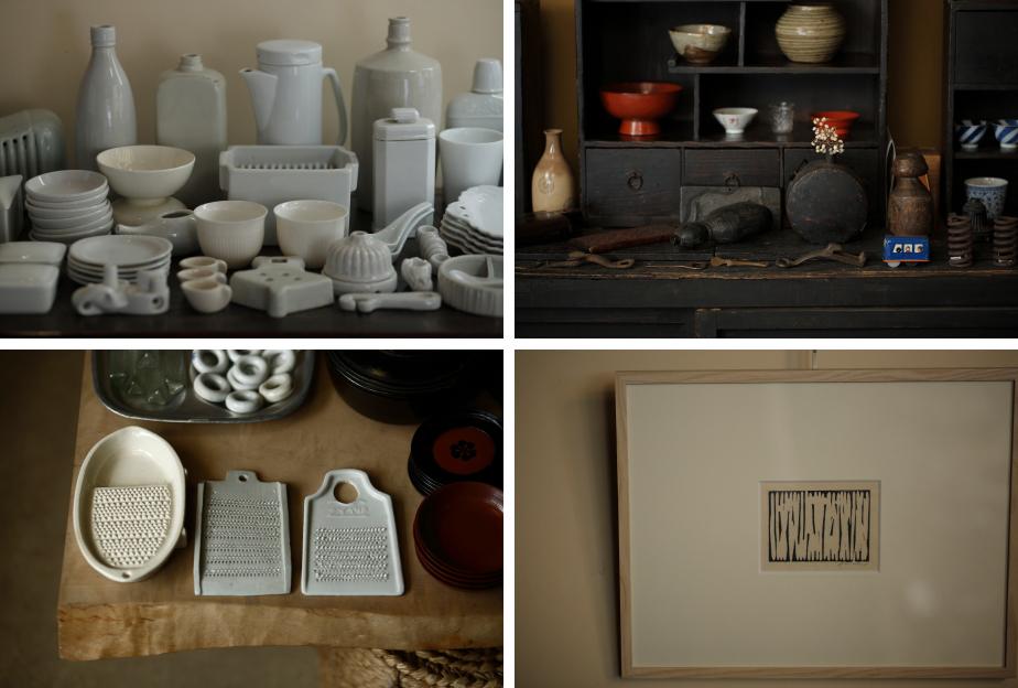 店内の様子。近代に作られた白磁の器、古い漆器や古布、古唐津茶碗、古丹波壺や現代美術家・李禹煥の作品など、荒井さんの審美眼で選び抜かれたありとあらゆるものが並ぶ。