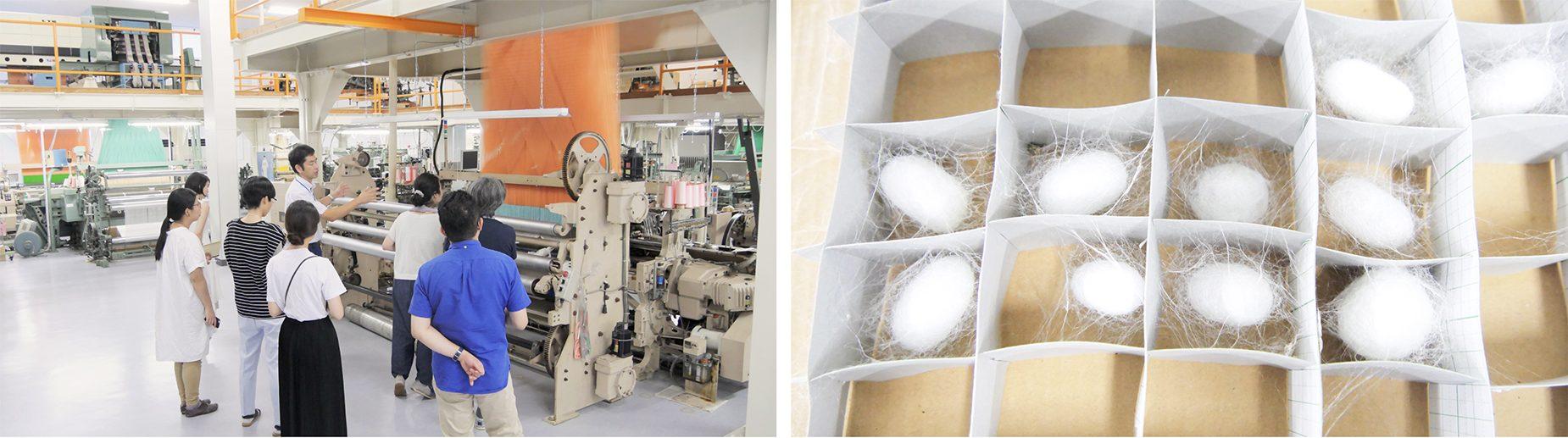 センターの中には様々な機械や設備、生地サンプルが整っていて、新商品開発や人材育成等に利用している。